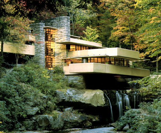 Cqubuildingdesignassessment frank lloyd wright for House built on waterfall