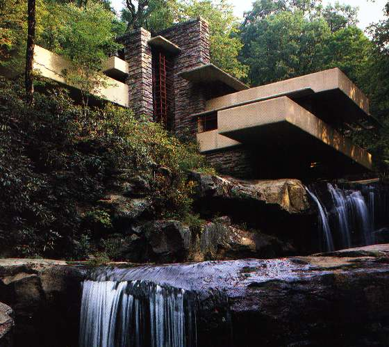 fallingwater house over waterfall frank lloyd wright. Black Bedroom Furniture Sets. Home Design Ideas