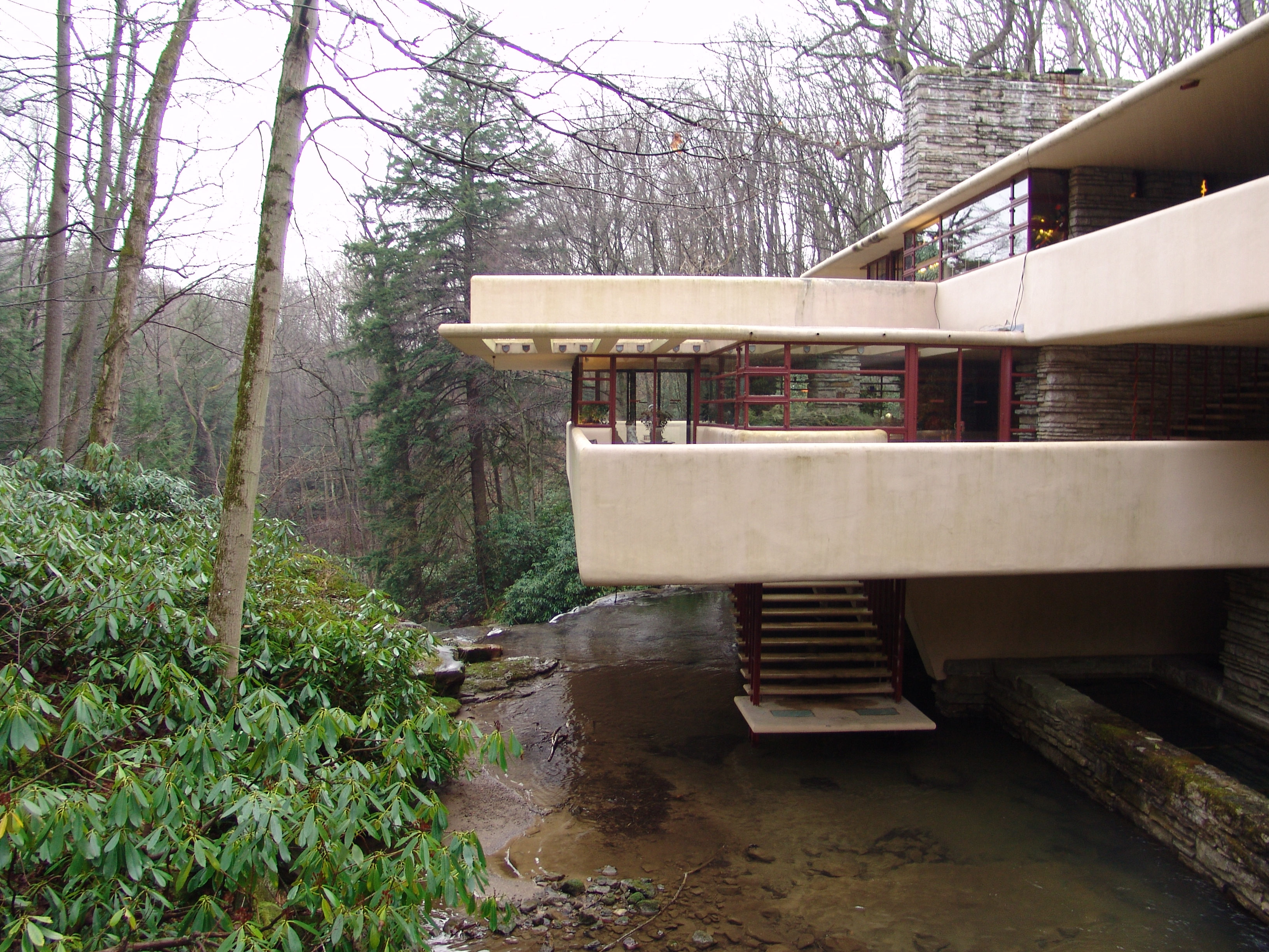 Fallingwater Pictures Southeast Exterior Stairs To Stream
