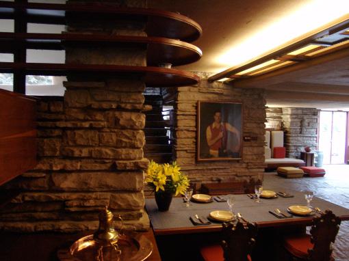 Fallingwater Dining Area With Kaufmann Portrait Frank