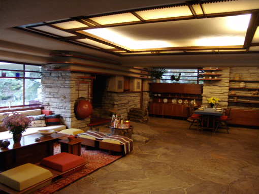 Fallingwater living room and dining area frank lloyd wright for Frank lloyd wright flooring