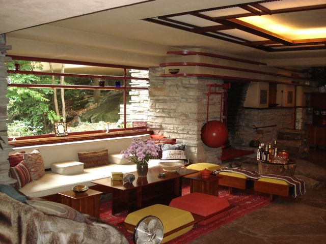 Attractive [Fallingwater Living Room Sitting Area And Fireplace] Part 9